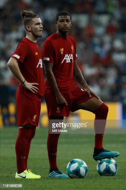 Harvey Elliott and Rhian Brewster of Liverpool look on during the warmup ahead of the UEFA Super Cup match between Liverpool and Chelsea at Besiktas...