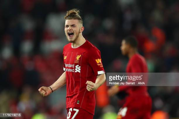 Harvey Elliott celebrates at full time during the Carabao Cup Round of 16 match between Liverpool and Arsenal at Anfield on October 30 2019 in...