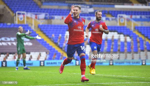 Harvey Elliott of Blackburn Rovers celebrates after he scores their third goal during the Sky Bet Championship match between Coventry City and...