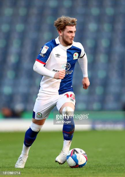 Harvey Elliott of Blackburn Rovers controls the ball during the Sky Bet Championship match between Blackburn Rovers and Derby County at Ewood Park on...
