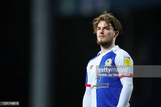 Harvey Elliott of Blackburn Rovers during the Sky Bet Championship match between Blackburn Rovers and Brentford at Ewood Park on March 12, 2021 in...