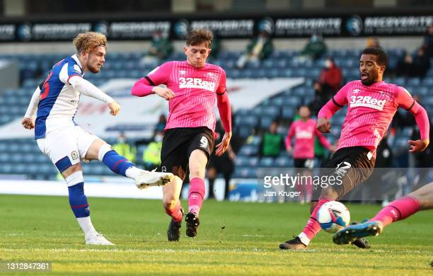 Harvey Elliott of Blackburn Rovers scores the second goal during the Sky Bet Championship match between Blackburn Rovers and Derby County at Ewood...
