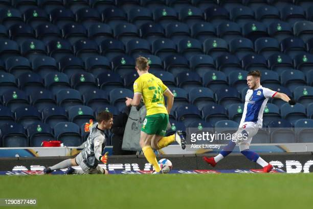 Harvey Elliott of Blackburn Rovers scores their team's first goal during the Sky Bet Championship match between Blackburn Rovers and Norwich City at...