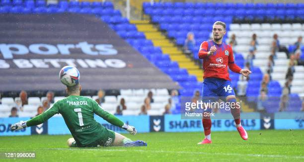 Harvey Elliott of Blackburn Rovers scores their third goal during the Sky Bet Championship match between Coventry City and Blackburn Rovers at St...