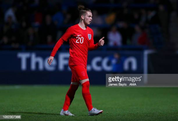 Harvey Elliott of England during the U17 International Youth Tournament game between England and Brazil at the New Bucks Head Stadium on October 15...