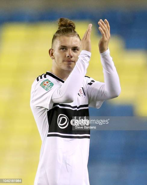 Harvey Elliott of Fulham applauds fans after the Carabao Cup Third Round match between Millwall and Fulham at The Den on September 25 2018 in London...