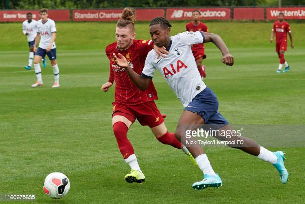 Harvey Elliott of Liverpool and Paris Maghoma of Tottenham Hotspur in action during the PL2 game at The Kirkby Academy on August 10 2019 in Kirkby...