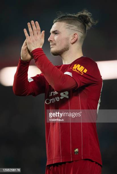 Harvey Elliott of Liverpool applauds the fans after the FA Cup Fourth Round Replay match between Liverpool and Shrewsbury Town at Anfield on February...