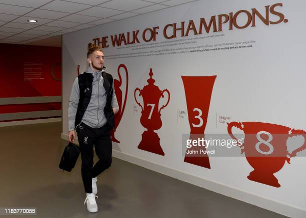 Harvey Elliott of Liverpool arriving before the Premier League match between Liverpool FC and Tottenham Hotspur at Anfield on October 27 2019 in...