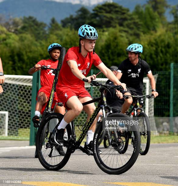 Harvey Elliott of Liverpool arriving to a training session on a bike a on July 30 2019 in EvianlesBains France