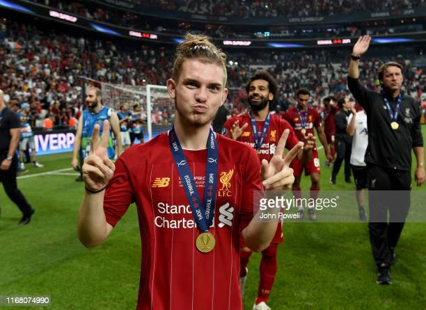 Harvey Elliott of Liverpool at the end of the UEFA Super Cup match between Liverpool and Chelsea at Vodafone Park on August 14 2019 in Istanbul Turkey