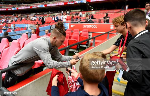 Harvey Elliott of Liverpool before the FA Community Shield match between Liverpool and Manchester City at Wembley Stadium on August 04 2019 in London...