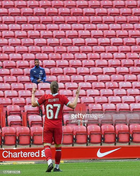 Harvey Elliott of Liverpool celabrates his goal during the game at Anfield on September 05 2020 in Liverpool England