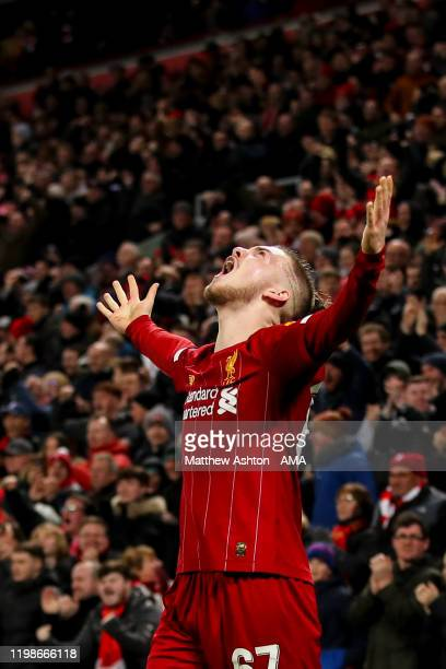 Harvey Elliott of Liverpool celebrates after Ro-Shaun Williams of Shrewsbury Town scores an own goal to make it 1-0 during the FA Cup Fourth Round...