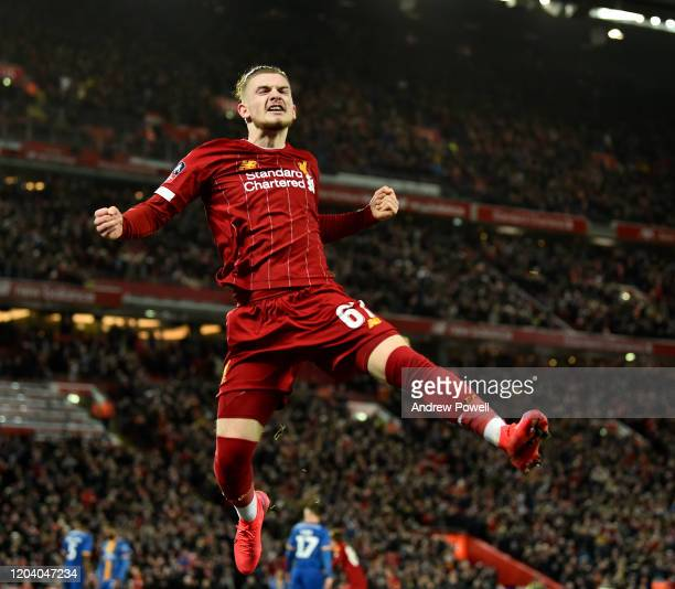 Harvey Elliott of Liverpool celebrates after the opening goal during the FA Cup Fourth Round Replay match between Liverpool FC and Shrewsbury Town at...