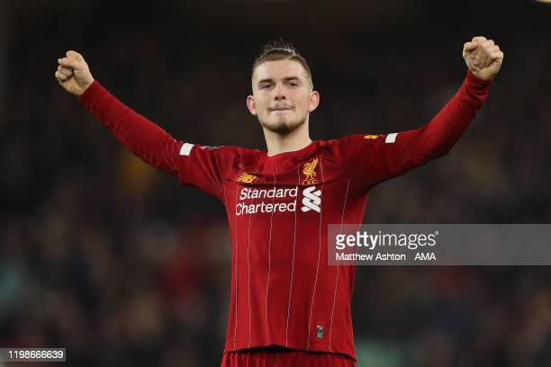 Harvey Elliott of Liverpool celebrates at full time during the FA Cup Fourth Round Replay match between Liverpool and Shrewsbury at Anfield on...