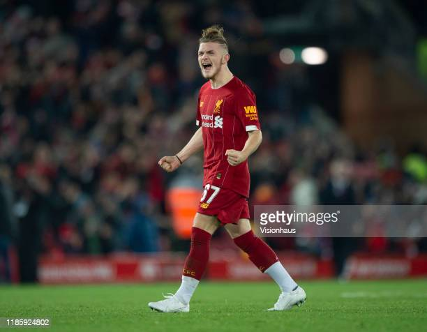 Harvey Elliott of Liverpool celebrates in front of the fans after they win the penalty shoot out following the Carabao Cup Fourth Round match between...