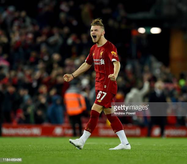 Harvey Elliott of Liverpool celebrating at the end of the Carabao Cup Round of 16 match between Liverpool FC and Arsenal FC at Anfield on October 30...