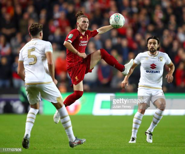 Harvey Elliott of Liverpool controls the ball while in the air during the Carabao Cup Third Round match between Milton Keynes Dons and Liverpool FC...