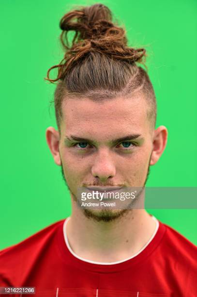 Harvey Elliott of Liverpool during a green screen shoot at Melwood Training Ground on August 05 2019 in Liverpool England