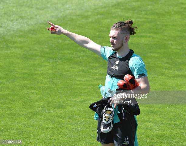 Harvey Elliott of Liverpool during a training session at Melwood Training Ground on May 20 2020 in Liverpool England