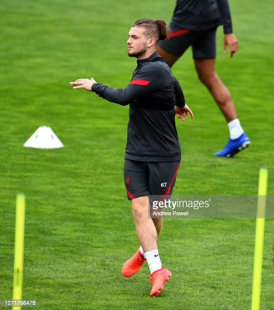 Harvey Elliott of Liverpool during a training session at Melwood Training Ground on September 10 2020 in Liverpool England