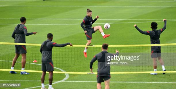 Harvey Elliott of Liverpool during a training session at Melwood Training Ground on September 16 2020 in Liverpool England