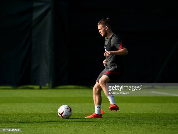 Harvey Elliott of Liverpool during a training session at Melwood Training Ground on September 18 2020 in Liverpool England