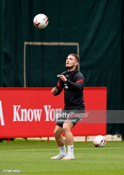 Harvey Elliott of Liverpool during a training session at Melwood Training Ground on September 26 2020 in Liverpool England
