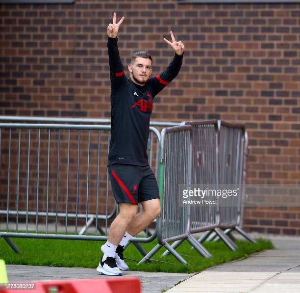 Harvey Elliott of Liverpool during a training session^ at Melwood Training Ground on October 02 2020 in Liverpool England