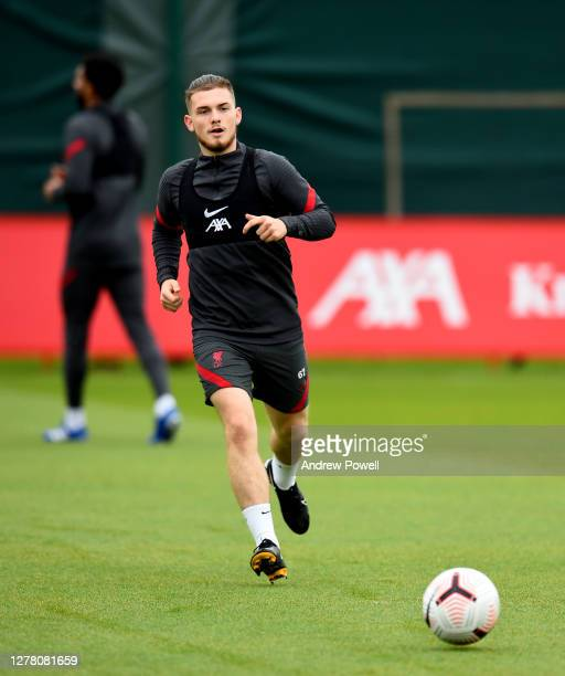 Harvey Elliott of Liverpool during a training session at Melwood Training Ground on October 02 2020 in Liverpool England