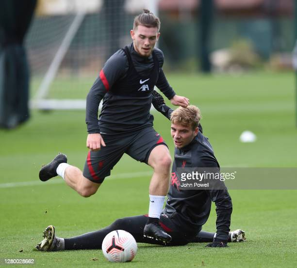 Harvey Elliott of Liverpool during a training session at Melwood Training Ground on October 13 2020 in Liverpool England