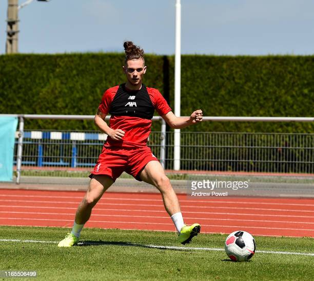 Harvey Elliott of Liverpool during a training session on August 01 2019 in EvianlesBains France