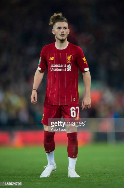 Harvey Elliott of Liverpool during the Carabao Cup Fourth Round match between Liverpool and Arsenal at the Anfield Stadium on October 30 2019 in...