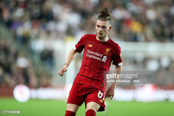 Harvey Elliott of Liverpool during the Carabao Cup Third Round match between Milton Keynes Dons and Liverpool at Stadium mk on September 25 2019 in...