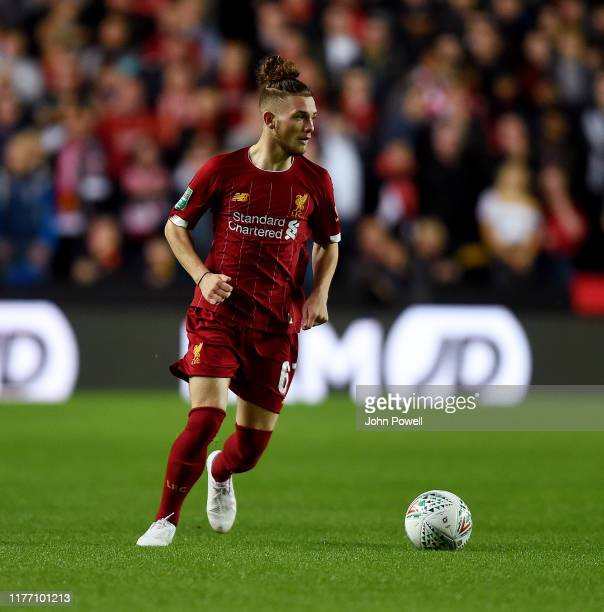 Harvey Elliott of Liverpool during the Carabao Cup Third Round match between Milton Keynes Dons and Liverpool FCat Stadium mk on September 25 2019 in...