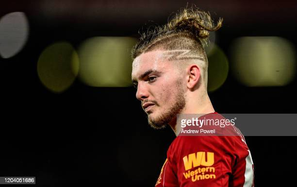 Harvey Elliott of Liverpool during the FA Cup Fourth Round Replay match between Liverpool FC and Shrewsbury Town at Anfield on February 04 2020 in...