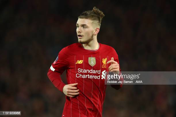 Harvey Elliott of Liverpool during the FA Cup Third Round match between Liverpool and Everton at Anfield on January 5 2020 in Liverpool England