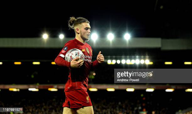 Harvey Elliott of Liverpool during the FA Cup Third Round match between Liverpool FC and Everton at Anfield on January 05 2020 in Liverpool England