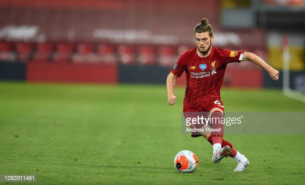 Harvey Elliott of Liverpool during the Premier League match between Liverpool FC and Crystal Palace at Anfield on June 24, 2020 in Liverpool,...