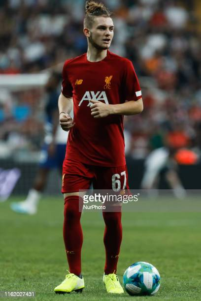 Harvey Elliott of Liverpool during the warmup ahead of the UEFA Super Cup match between Liverpool and Chelsea on August 14 2019 at Besiktas Park in...