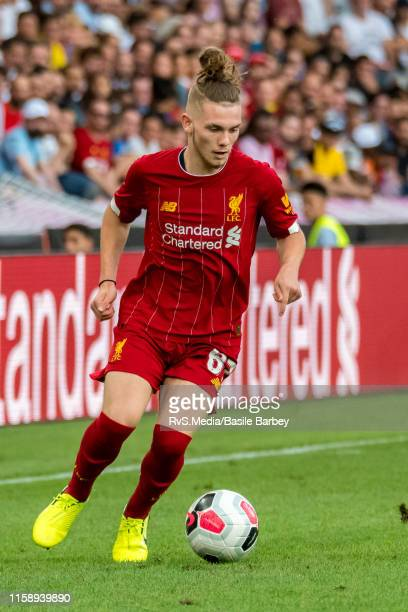 Harvey Elliott of Liverpool FC in action during the Pre-Season Friendly match between Liverpool FC and Olympique Lyonnais at Stade de Geneve on July...