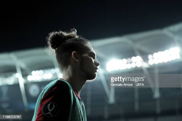 Harvey Elliott of Liverpool FC warms up during the UEFA Super Cup match between Liverpool and Chelsea at Vodafone Park on August 14 2019 in Istanbul...