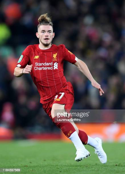 Harvey Elliott of Liverpool in action during the Carabao Cup Round of 16 match between Liverpool and Arsenal at Anfield on October 30 2019 in...