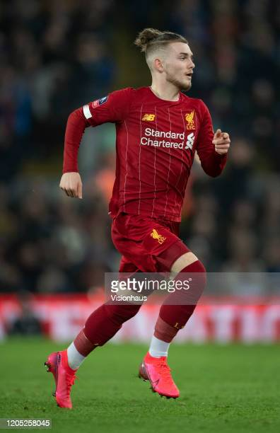 Harvey Elliott of Liverpool in action during the FA Cup Fourth Round Replay match between Liverpool and Shrewsbury Town at Anfield on February 4 2020...