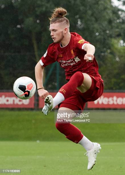 Harvey Elliott of Liverpool in action during the Premier League Cup game at The Kirkby Academy on October 6 2019 in Kirkby England