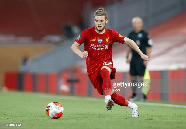 Harvey Elliott of Liverpool in action during the Premier League match between Liverpool FC and Crystal Palace at Anfield on June 24, 2020 in...