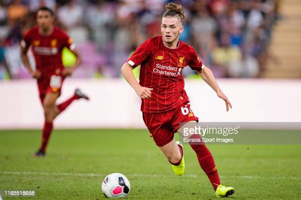 Harvey Elliott of Liverpool in action during the PreSeason Friendly match between Liverpool FC and Olympique Lyonnais at Stade de Geneve on July 31...