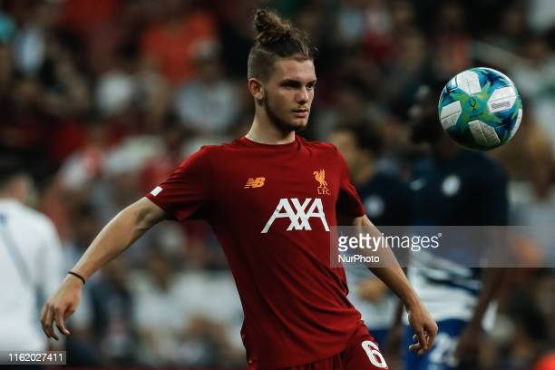 Harvey Elliott of Liverpool in action during the warmup ahead of the UEFA Super Cup match between Liverpool and Chelsea on August 14 2019 at Besiktas...