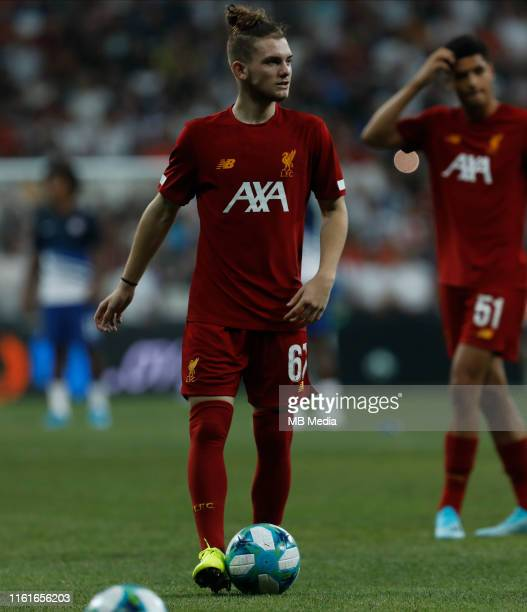 Harvey Elliott of Liverpool looks on during the warmup ahead of the UEFA Super Cup match between Liverpool and Chelsea at Besiktas Park on August 14...